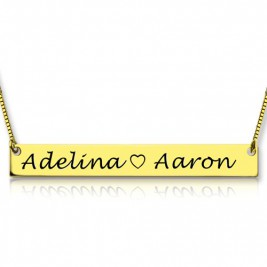 Gold Bar Necklace Engraved Double Name