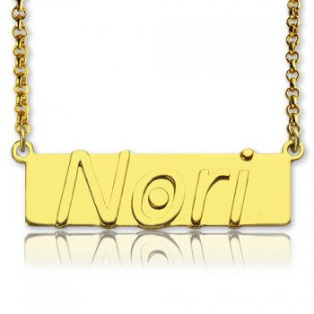 Custom Nameplate Bar Necklace 18ct Gold Plated