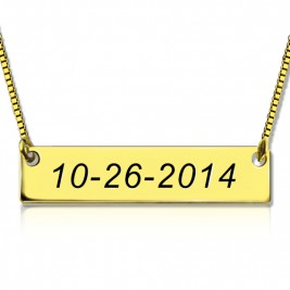 Engraved Date Bar Necklace 18ct Gold Plated