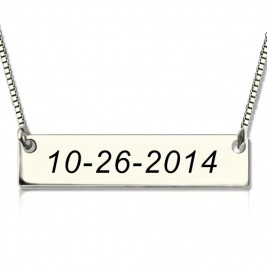 Personalised Sterling Silver Date Bar Necklace