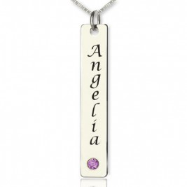 Vertical Bar Necklace Name Tag Silver