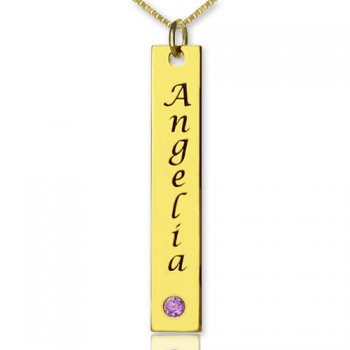 Personalised Name Tag Bar Necklace in 18ct Gold Plated