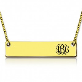 Personalised 18ct Gold Plated Initial Bar Necklace Monogram