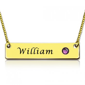 Name Bar Necklace with Birthstone 18ct Gold Plated
