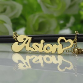 Custom Name Necklace in18ct Gold Plated with Heart