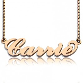 Carrie Name Necklace  Box Chain In 18ct Rose Gold Plated
