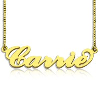Gold Plated Sex and The City Carrie Name Necklace Box Chain