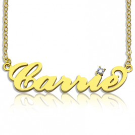 Carrie Nameplate Necklace with Birthstone 18ct Gold Plated
