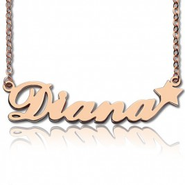 Rose Gold Plated Sex and The City Name Neckalce With Star