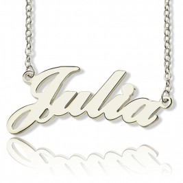 Solid 18ct White Gold Plated Julia Style Name Necklace