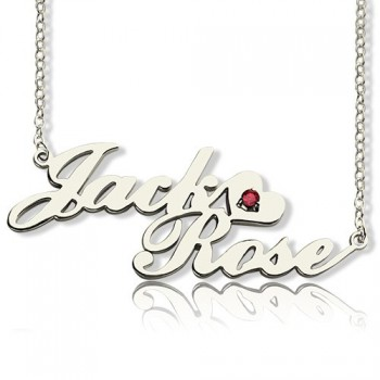 Personalised Nameplate Necklace Double Name Sterling Silver