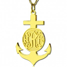 18ct Gold Plated Anchor Monogram Initial Necklace