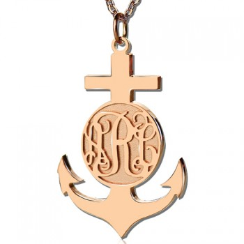Rose Gold Anchor Cross Monogram Initial Pendant
