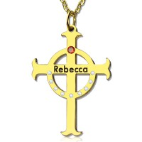Circle Cross Necklaces with Birthstone  Name 18ct Gold Plated Silver