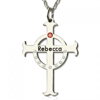Personalised Circle Cross Necklaces with Birthstone  Name Silver