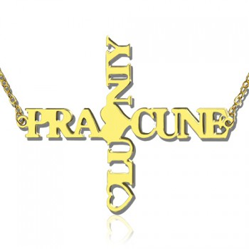 Personalised Two Name Cross Necklace Gold Plated 925 Silver