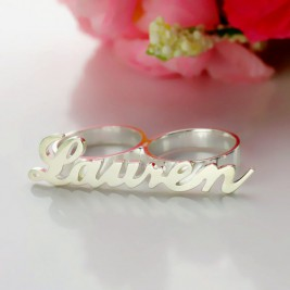 Personalised Allegro Two Finger Name Ring Sterling Silver