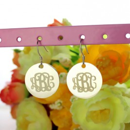 Disc Signet Monogrammed Earrings Sterling Silver