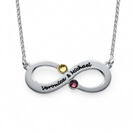 Couple's Infinity Necklace with Birthstones