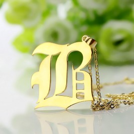 Custom Mens Initial Letter Charm Old English 18ct Gold Plated