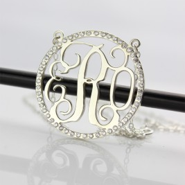 Birthstone Circle Monogram Necklace Sterling Silver