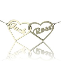 Double Heart Love Necklace With Names Sterling Silver