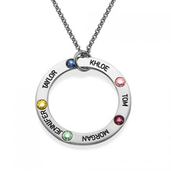 Engraved Birthstone Necklace for Mum