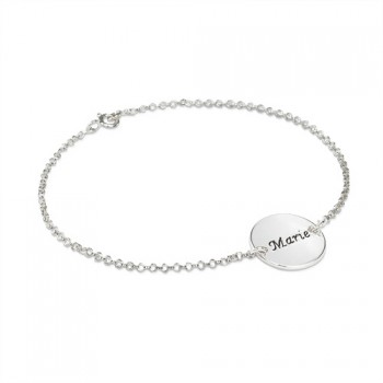 Engraved Disc Bracelet/Anklet In Sterling Silver