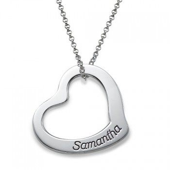 Engraved Floating Heart Necklace