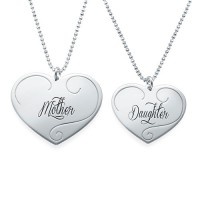 Engraved Heart Pendants - Mother Daughter Jewellery