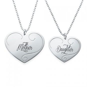 Engraved Heart Pendants - Mother Daughter Jewellery