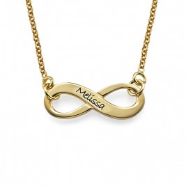 Engraved Infinity Necklace in 18ct Gold Plating