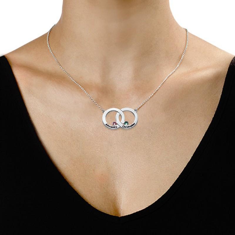 Engraved interlocking circle necklace aloadofball Choice Image