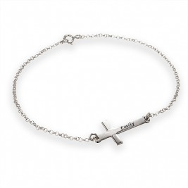 Engraved Side Cross Bracelet/Anklet