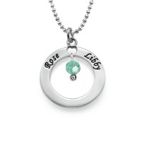 Engraved Classic Circle Necklace with Birthstones