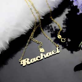 Personalised 18ct Gold Plated Silver Puff Font Name Necklace