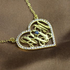Birthstone Heart Monogram Necklace 18ct Gold Plated
