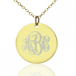 Disc Script Monogram Necklace 18ct Gold Plated