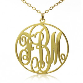 18ct Gold Plated Circle Initial Monogram Necklace