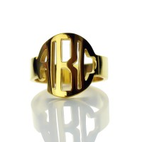 18ct Gold Plated Block Monogram Ring
