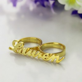 Custom Allegro Two Finger Nameplated Ring 18ct Gold Plated