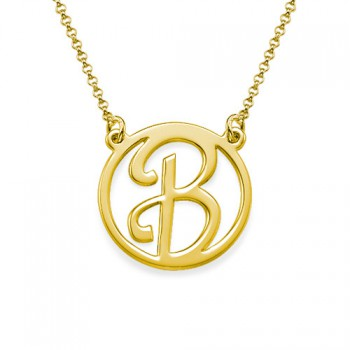 18k Gold Plated Cut Out Initial Necklace