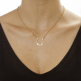 18ct Gold Plated Engraved Horseshoe Necklace