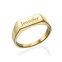 Gold Plated Engraved Signet Ring