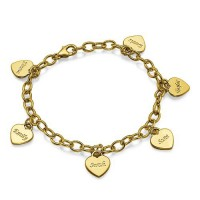 18k Gold Plated Heart Charm Mothers Bracelet/Anklet