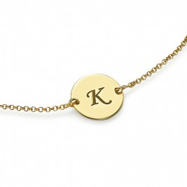 Engraved 18ct Gold Plated Disc Bracelet/Anklet