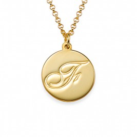 18ct Gold Plated Initial Pendant with Script Font