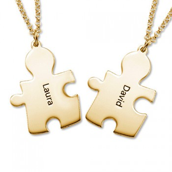 18CT Gold Plated Personalised Couple's Puzzle Necklace