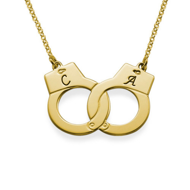 Handcuff Necklace Gold: Handcuff Necklace In 18ct Gold Plating