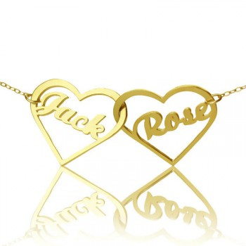 Double Heart Name Necklace 18ct Gold Plated